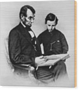 Lincoln Reading To His Son Wood Print by Photo Researchers