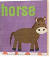 Little Horse Wood Print by Linda Woods