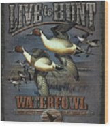 Live To Hunt Pintails Wood Print by JQ Licensing