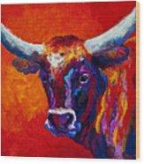 Longhorn Steer Wood Print by Marion Rose