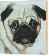 Love At First Sight - Pug Wood Print by Linda Apple