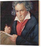 Ludwig Van Beethoven Composing His Missa Solemnis Wood Print by Joseph Carl Stieler