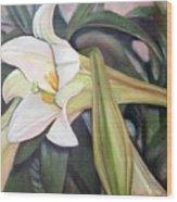 Lys Wood Print by Muriel Dolemieux