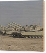 M1 Abrams Tanks At Camp Warhorse Wood Print by Terry Moore