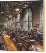 Machinist - A Room Full Of Lathes  Wood Print by Mike Savad