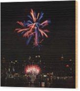 Macy's Fireworks II Wood Print by David Hahn