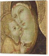 Madonna And Child Wood Print by Ansano di Pietro di Mencio
