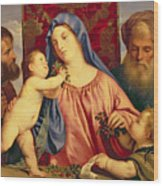Madonna Of The Cherries With Joseph Wood Print by Titian