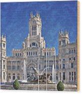 Madrid City Hall Wood Print by Joan Carroll