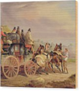 Mail Coaches On The Road - The 'quicksilver'  Wood Print by Charles Cooper Henderson