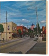 Main Street Clayton Nc Wood Print by Doug Strickland