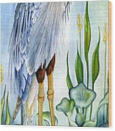 Majestic Blue Heron Wood Print by Lyse Anthony