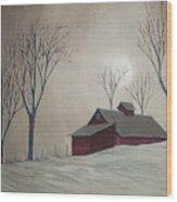 Majestic Winter Night Wood Print by Charlotte Blanchard