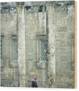 Man Walking Between Columns At The Roman Theatre Wood Print by Sami Sarkis