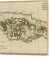 Map Of Jamaica Wood Print by Guillaume Raynal