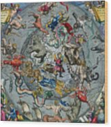 Map Of The Constellations Of The Northern Hemisphere Wood Print by Andreas Cellarius