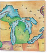 Map Of The Great Lakes Wood Print by Jennifer Thermes