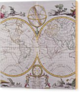 Map Of The World Wood Print by Fototeca Storica Nazionale