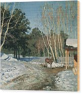 March Wood Print by Isaak Ilyich Levitan