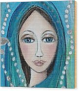 Mary With White Rosary Beads Wood Print by Denise Daffara