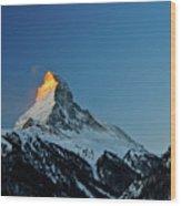Matterhorn Switzerland Sunrise Wood Print by Maria Swärd