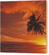 Maui, A Beautiful Sunset Wood Print by Ron Dahlquist - Printscapes