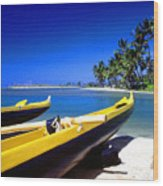 Maunalua Bay Outrigger Canoe Wood Print by Thomas R Fletcher