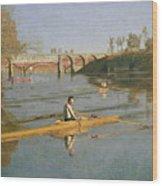 Max Schmitt In A Single Scull Wood Print by Thomas Cowperthwait Eakins