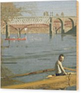 Max Schmitt In A Single Scull Wood Print by Thomas Eakins