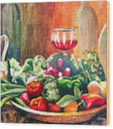 Mediterranean Table Wood Print by Karen Stark