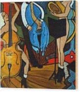 Melting Jazz Wood Print by Valerie Vescovi