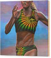 Merlene Ottey Wood Print by Paul Meijering