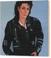 Michael Jackson Bad Wood Print by Paul Meijering