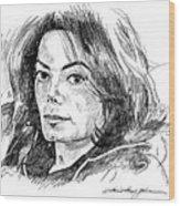 Michael Jackson Thoughts Wood Print by David Lloyd Glover