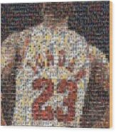 Michael Jordan Card Mosaic 2 Wood Print by Paul Van Scott