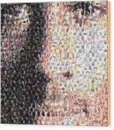 Michael Jordan Face Mosaic Wood Print by Paul Van Scott
