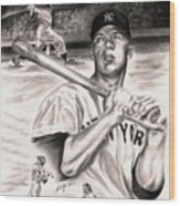 Mickey Mantle Wood Print by Kathleen Kelly Thompson
