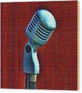 Microphone Wood Print by Jill Battaglia