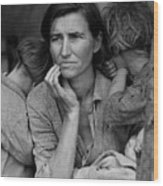 Migrant Mother, Portrait Of Florence Wood Print by Everett