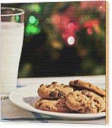 Milk And Cookies For Santa Wood Print by Elena Elisseeva