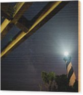 Milky Way Inside Hatteras Light Pavillon Wood Print by Daniel Lowe