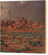Milky Way Rising Over The Valley Of Fire Wood Print by Charles Warren
