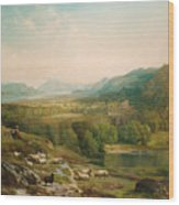 Minding The Flock Wood Print by Thomas Moran