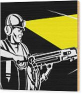 Miner With Jack Leg Drill Wood Print by Aloysius Patrimonio