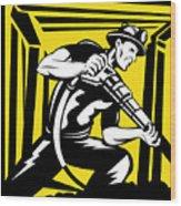 Miner With Pneumatic Drill  Wood Print by Aloysius Patrimonio