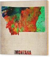 Montana Watercolor Map Wood Print by Naxart Studio