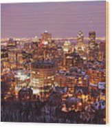 Montreal City Lights Wood Print by Pierre Leclerc Photography