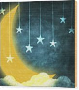 Moon And Stars Wood Print by Setsiri Silapasuwanchai