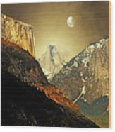 Moon Over Half Dome Wood Print by Wingsdomain Art and Photography