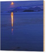 Moon Rise Over Mt. Edgecumbe Wood Print by Mike  Dawson